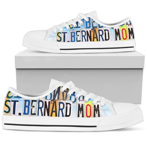 Cute St. Bernard Mom Print Low Top Canvas Shoes For Women