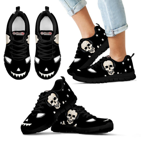 Halloween Themed Print Black Shoes For Kids