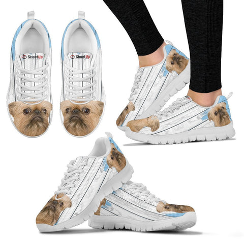 Brussels Griffon (Griffon Bruxellois) Blue White Print Sneakers For Women