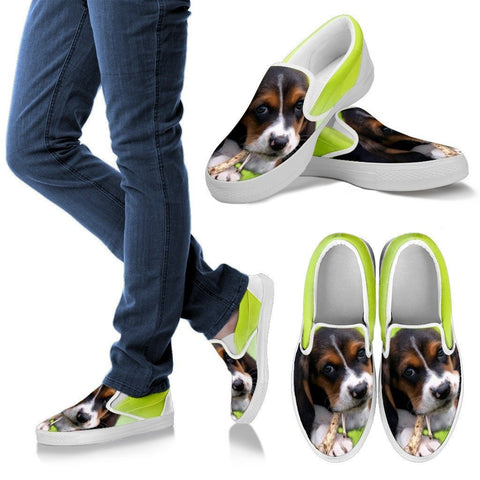 Basset HoundDog Slip Ons For Women