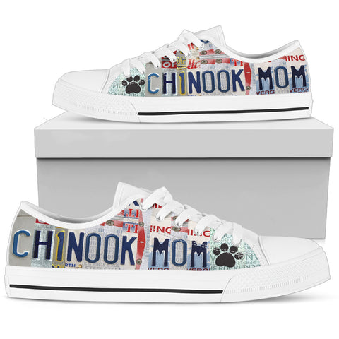 Cute Chinook Mom Print Low Top Canvas Shoes For Women