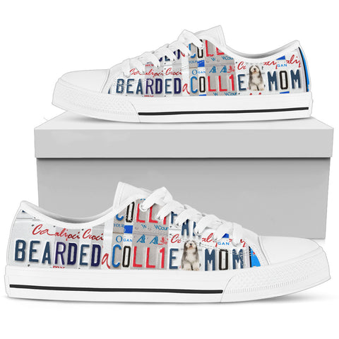 Bearded Collie Print Low Top Canvas Shoes for Women
