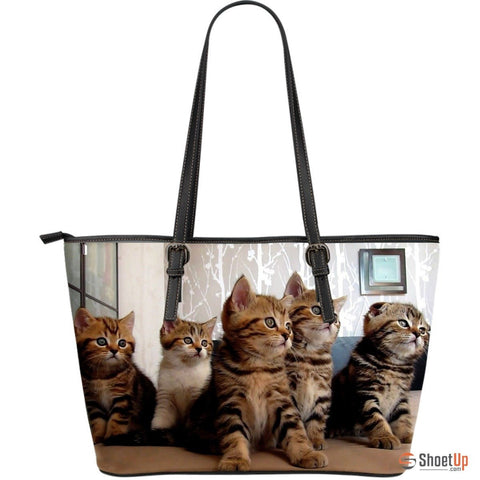 Cat In LotLarge Leather Tote Bag