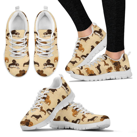 Dachshund Dog Pattern Print Sneakers For Women Express Shipping