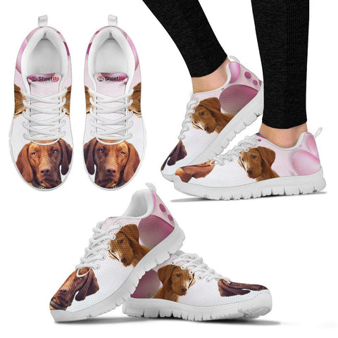 Vizsla Pink White Print Running Shoes For Women