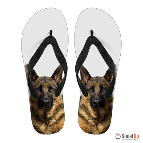 German Shepherd Print Flip Flops For Women