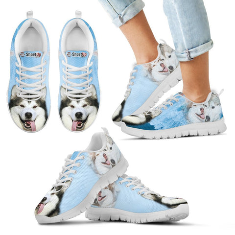 Laughing Alaskan Malamute Print Running Shoes For Kids