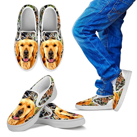 Amazing Golden Retriever Print Slip Ons For KidsExpress Shipping