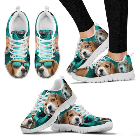 Beagle Dog On Deep Skyblue Print Running Shoes For Women