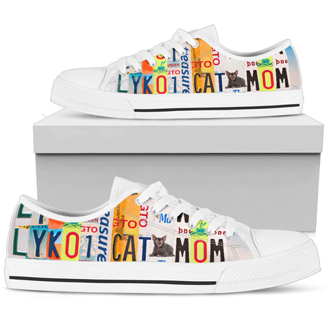 Lykoi Cat Mom Print Low Top Canvas Shoes for Women