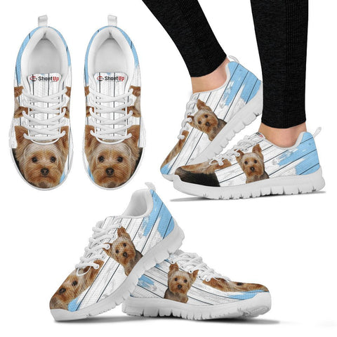 Yorkshire Blue White Print Sneakers For Women