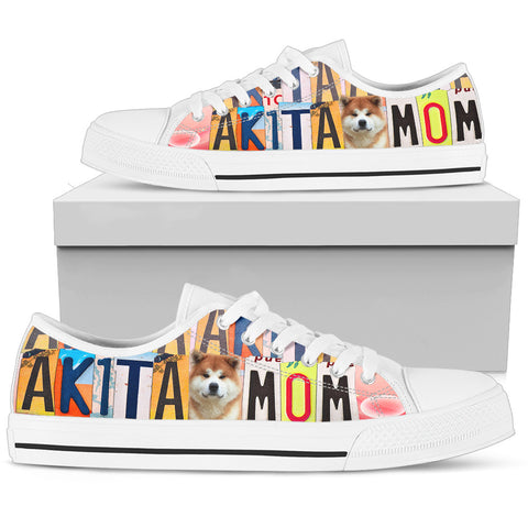 Lovely Akita Mom Print Low Top Canvas Shoes For Women