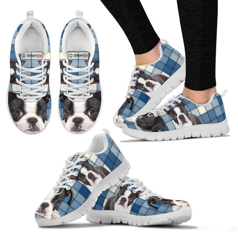 Boston Terrier With 3D Blocks Print Running Shoes For Women