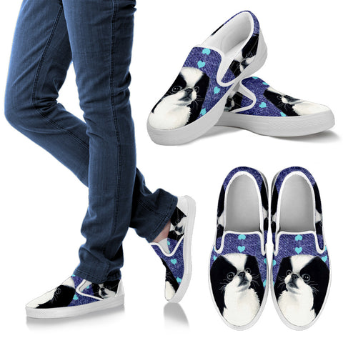 Valentine's Day SpecialCute Japanese Chin Dog Print Slip Ons Shoes For Women