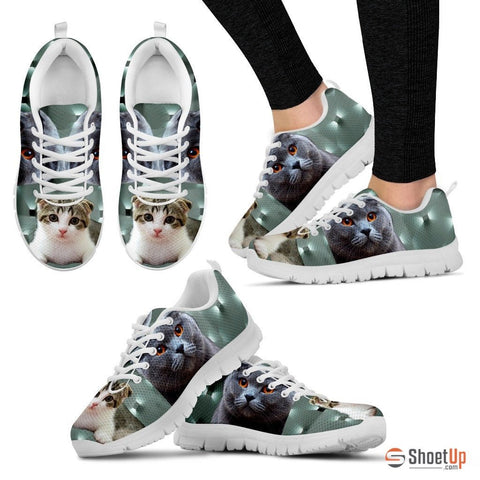 Scottish Fold Cat Print (White/Black) Running Shoes For Women