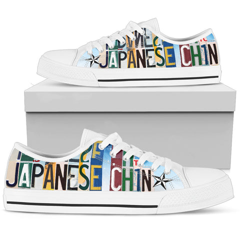 Cute Japanese Chin Mom Print Low Top Canvas Shoes For Women