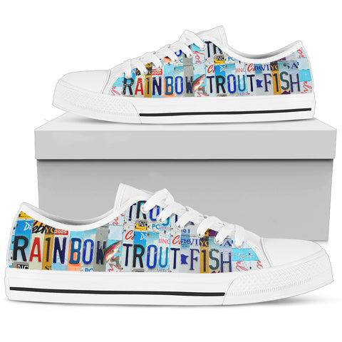 Rainbow trout Fish Print Low Top Canvas Shoes for Women