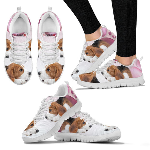 Beagle Pink White Print Running Shoes For Women