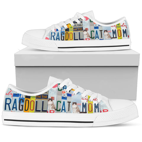 Ragdoll Cat Print Low Top Canvas Shoes For Women