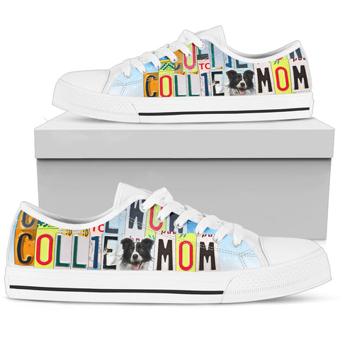 Cute Collie Mom Low Top Canvas Shoes For Women