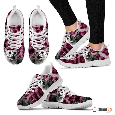Egyptian Mau Cat Print (Black/White) Running Shoes For Women
