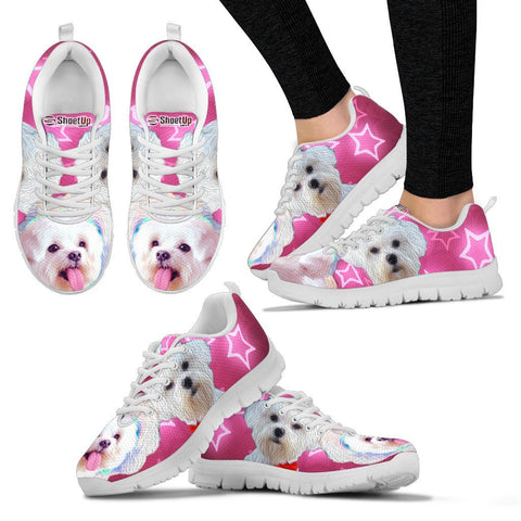 Maltese On Pink Print Running Shoes For Women