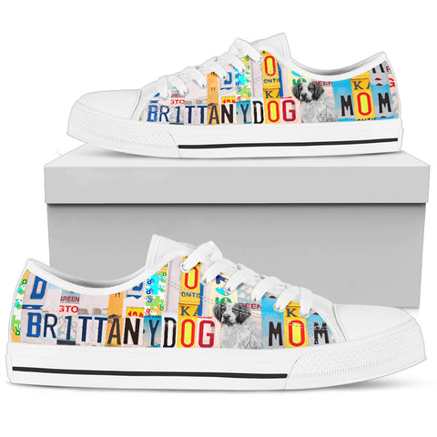 Brittany Dog Mom Print Low Top Canvas Shoes For Women