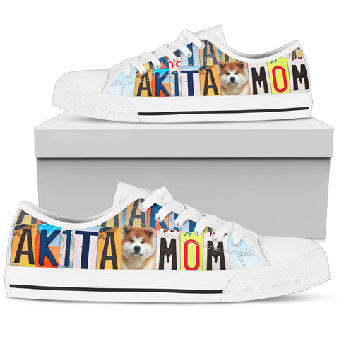 Cute Akita Mom Print Low Top Canvas Shoes For Women