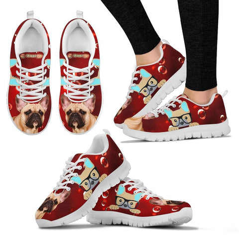 French Bulldog On RedWomen's Running Shoes