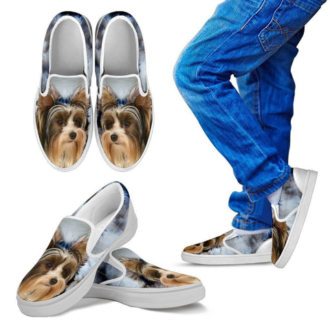 Biewer Terrier Print Slip Ons For Kids Express Shipping