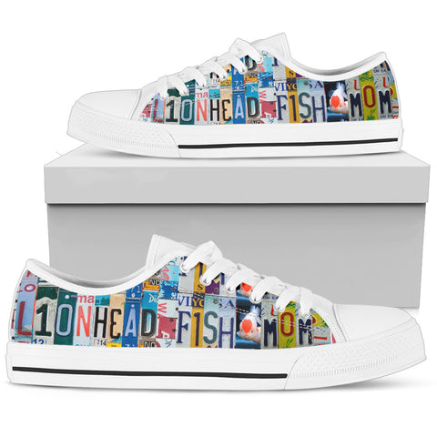 Lionhead (goldfish) Fish Print Low Top Canvas Shoes For Women