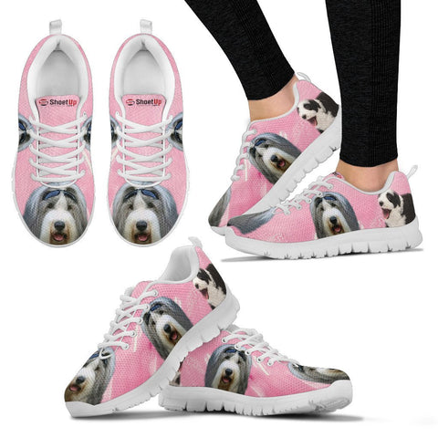Bearded Collie Water Pink Print Running Shoes For Women