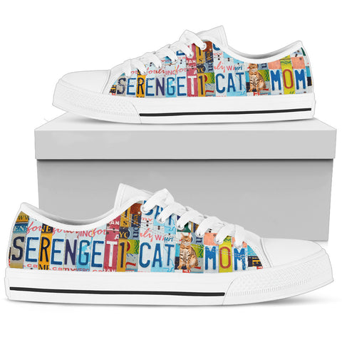 Serengeti Cat Print Low Top Canvas Shoes for Women