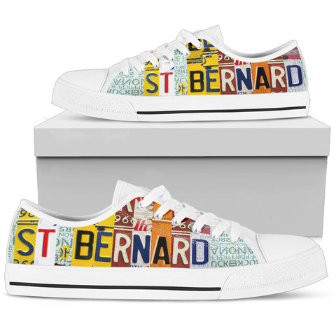 Amazing St. Bernard Mom Print Low Top Canvas Shoes For Women
