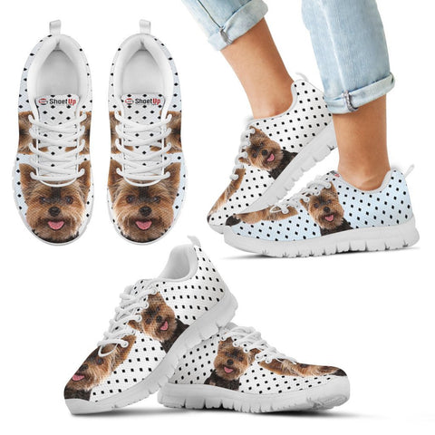 Yorkshire Terrier Black Dots Print Running Shoes For Kids