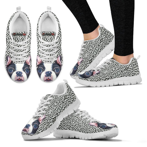 Cute Boston Terrier Print Running Shoes For Women