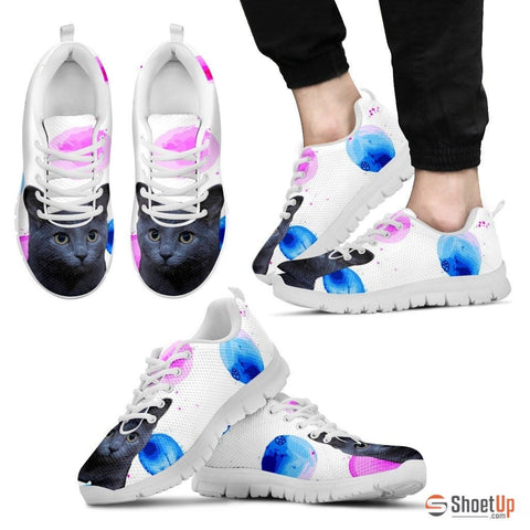 Russian Blue Cat Print (White/Black) Running Shoes For Men