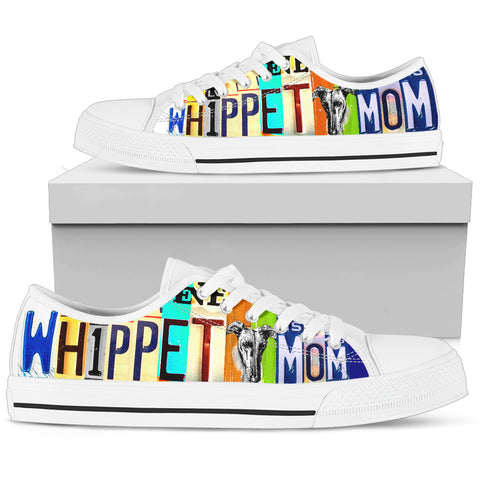 Women's Low Top Canvas Shoes For Cute Whippet Mom