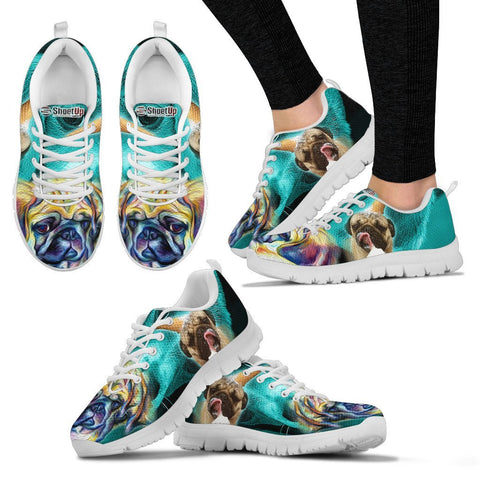 Pug Dog On Deep Skyblue Print Running Shoes For Women