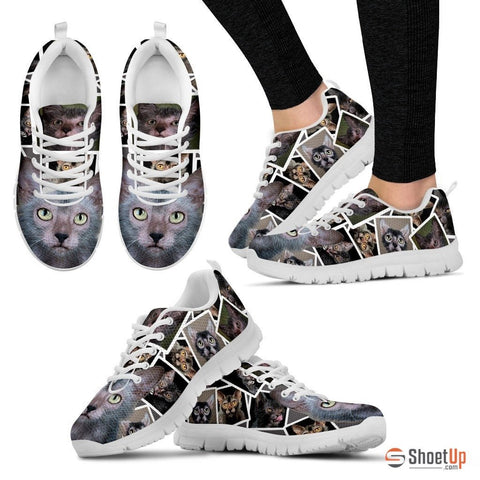Lykoi Cat Print (White/Black) Running Shoes For Women