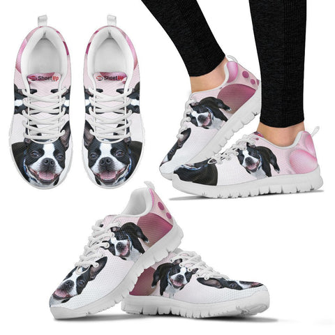 Boston Terrier Pink White Print Running Shoes For Women