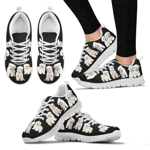 Multi Maltese Dog Print Running Shoes For Women