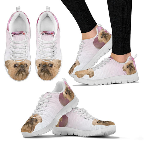 Brussels Griffon Pink White Print Running Shoes For Women