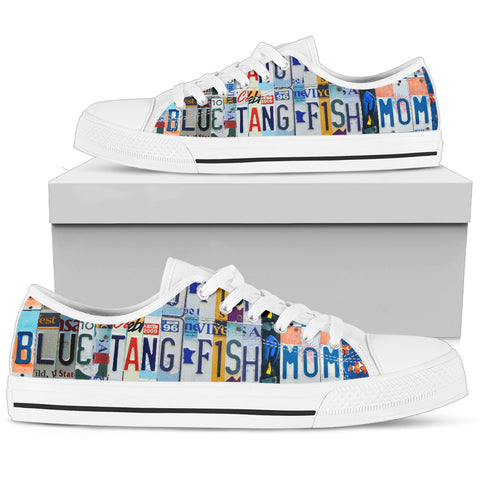 Blue Tang Fish Print Low Top Canvas Shoes For Women