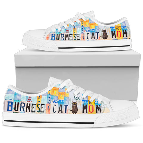 Burmese Cat Mom Print Low Top Canvas Shoes for Women