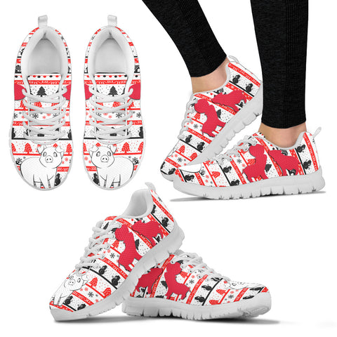 Kunekune Pig Print Christmas Running Shoes For Women