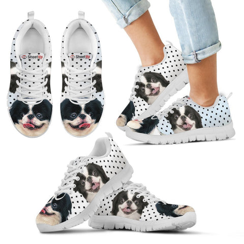 Japanese Chin Black Dots Print Running Shoes For Kids
