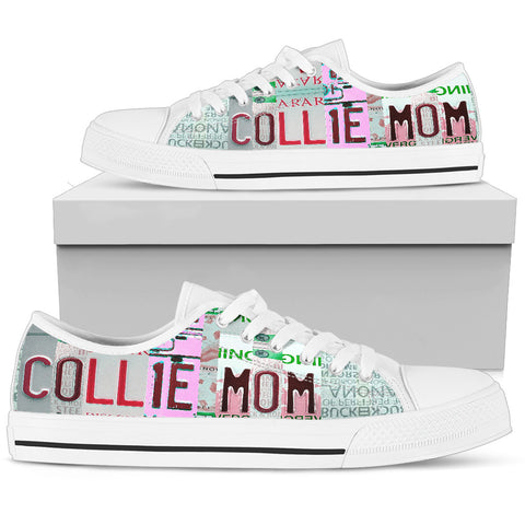 Collie Mom Print Low Top Canvas Shoes For Women- Limited Edition