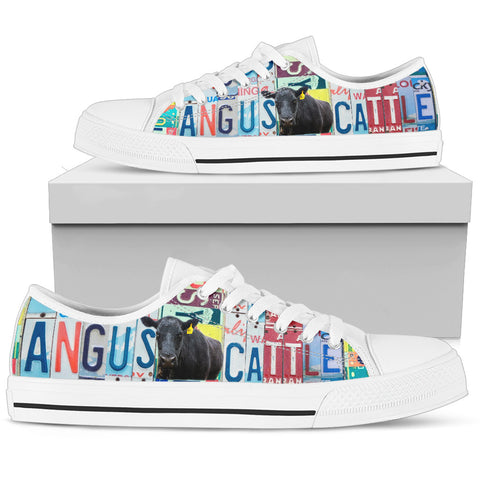 Angus Cattle Print Low Top Canvas Shoes for Women