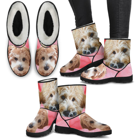 Goldendoodle Print Faux Fur Boots For Women